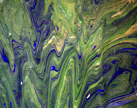 liquid gold: Blue, green and gold marbling background. Liquid pattern Stock Photo