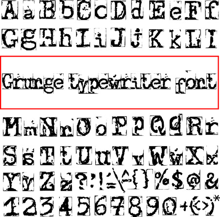 old typewriter: Grunge destroyed old typewriter font. Vector illustration