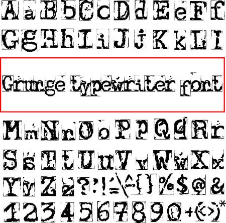 destroyed: Grunge destroyed old typewriter font. Vector illustration