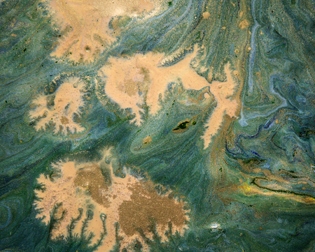liquid gold: green, blue and gold marbling liquid background