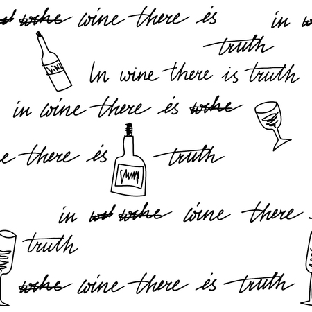 irony: Hand drawn seamless pattern. In wine there is truth
