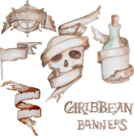 bung: Old antique banners. Vector illustration. Watercolor tapes Illustration