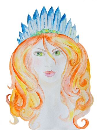 hair feathers: Red hair girl with blue feathers. Watercolor illustration