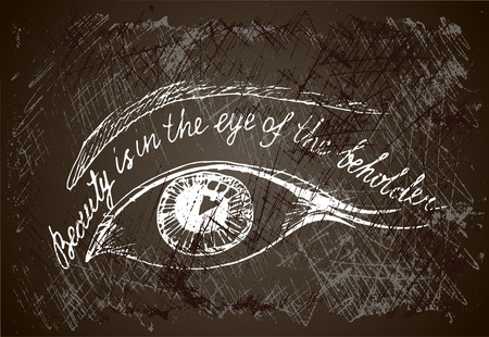 philosophy: painted eye on the grunge  background with hand drown inscription. Beauty is in the  eye of the beholder. Philosophy banner. Illustration