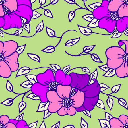 petal: Seamless floral pattern. Vector petal illustration. Green and pink pattern