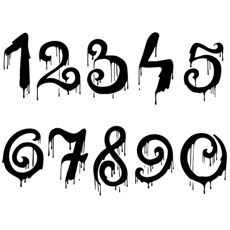 numeral: Melted numbers set. Dripping numeral font. Vector illustration.