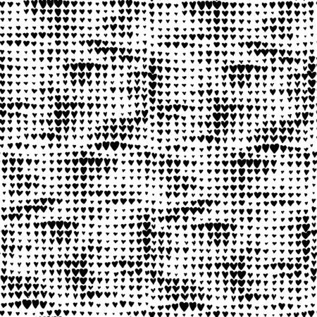 Fond de coeur noir et blanc à utiliser Pop Art ou Retro Comics. Clipart modifiable. Motif de près sans couture. Vecteurs