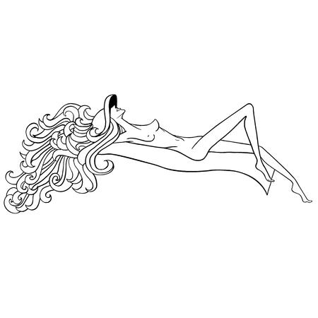 Zonnebaden meisje. Zwart en wit naakt meisje. Zomer meisje. Naakt meisje in de hoed. Mooi meisje met lang haar. Dunne naakt meisje. Meisje zonnebaden op het strand. Stockfoto - 57492874
