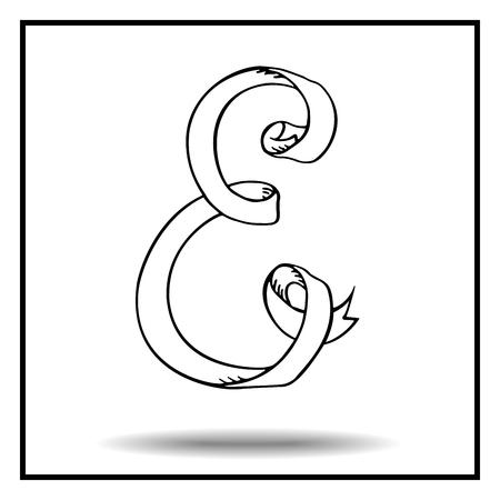 display type: Ribbon alphabet. Ribbon letter. Ribbon E. Display ribbon font. Sketch ribbon latter E.