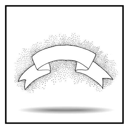 pointillism: Vintage ribbon. Hand drawn vector illustration. Isolated on white background. Black and white ribbon. Pointillism style. Pointillism ribbon.