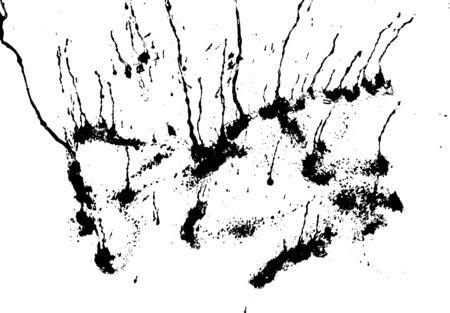 Czarna sylwetka spot z kropelek, smugi, plamy, plamy. plama atramentu w stylu grunge. ilustracji wektorowych Ilustracje wektorowe