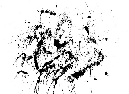 blots: Black silhouette spot with droplets, smudges, stains, splashes. Ink blot in grunge style. Vector illustration Illustration