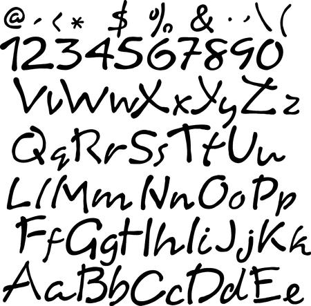 letras negras: Vector de la escritura manuscrita cepillo. letras negras sobre fondo blanco. Vectores