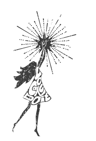 poster art: Black and white philosophy poster with inscription. You can do it. Girl holding a star. Motivational banner Illustration