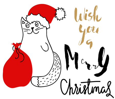 Cat in Christmas hat with a red bag. Holiday card. Handwritten christmas lettering.