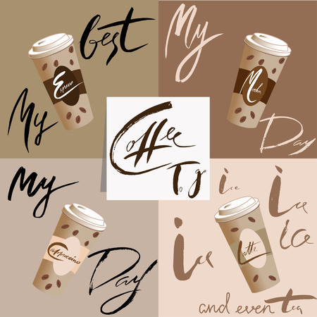 coffee to go: My coffee day. Coffee to go. Vector illustration disposable coffee cup icon with coffee beans. Coffee lettering Illustration