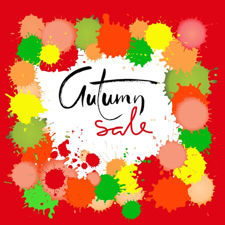 Autumn Sale inscription for special offer banners, season sale posters, discount tags. Handwritten brush lettering on colorful blots background.