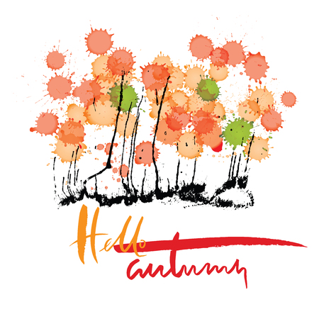 Hello autumn. Hand drawn lettering on colorful watercolor blots background. Ink drops texture Illustration