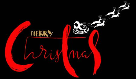 santa sleigh: Silhouette Sleigh of Santa Claus and Reindeers. Handdrawn Lettering. Illustration