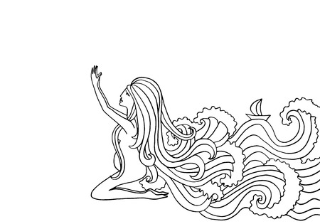 woman praying: Black and white doodle illustration. Pregnant woman praying. Girl with water instead of hair.