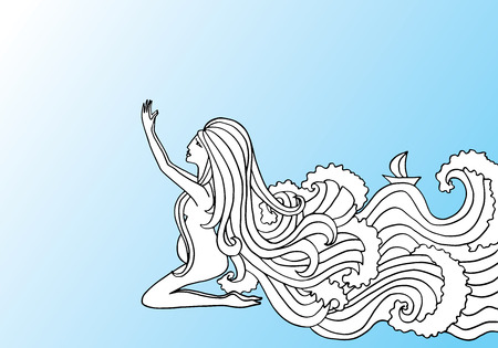 Black and white doodle illustration on blue gradient background. Pregnant woman praying. Girl with water instead of hair