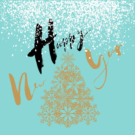 newyears: Happy New Year handeritten lettering design. Gold Christmas tree from snowflakes. Vector illustration.