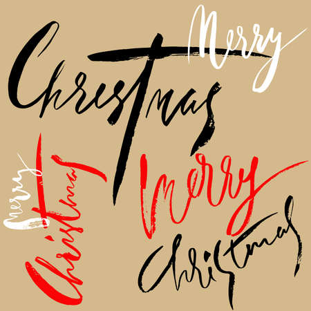 letras negras: Merry Christmas Lettering Design Set. Handwritten Red and White Inspiration. Vector illustration. Vectores