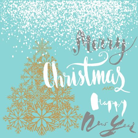 newyears: Christmas and Happy New Year handeritten lettering design. Gold Christmas tree from snowflakes. Vector illustration.