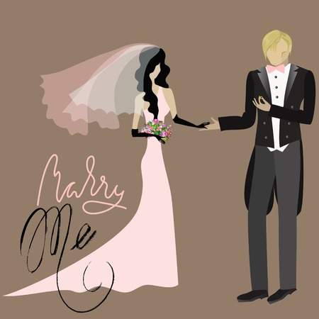 Wedding Card in Retro Style. Will You Marry Me.