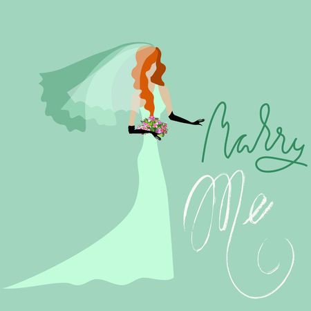 Wedding Card in Retro Style. Marry Me. Grunge Lettering Red bride in green dress. Vector illustration.