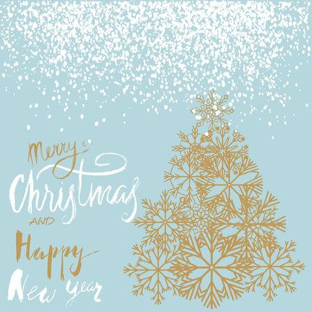 firtree: Christmas and Happy New Year handwritten lettering design. Gold Christmas tree from snowflakes. Vector illustration.