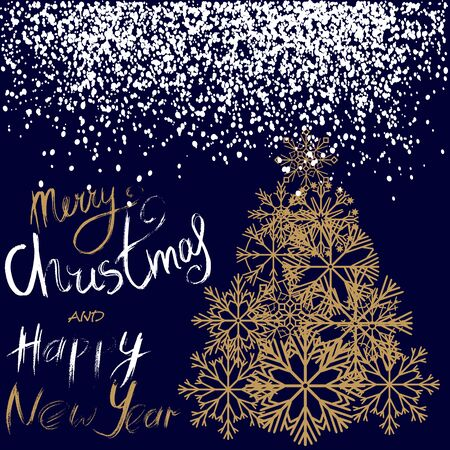 newyears: Christmas and Happy New Year handwritten lettering design. Gold Christmas tree from snowflakes. Vector illustration.