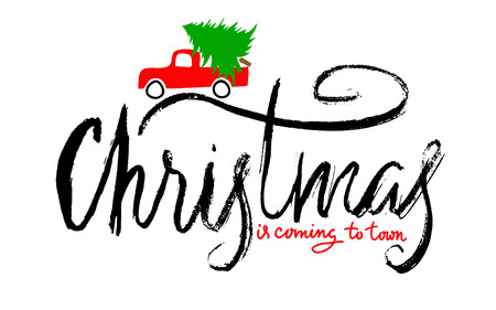 spruce: Red car carries Christmas spruce. Merry Christmas Lettering. Glitter Snow. Illustration