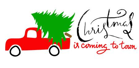 Rotes Auto trägt Weihnachten Fichte. Frohe Weihnachten Beschriftung. EPS10