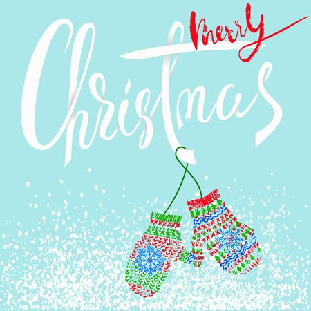 Merry Christmas. Modern calligraphy for Christmas cards and posters. Vector lettering with cute mitten pair. EPS10 Illustration