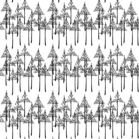 spruce: Spruce in monochrome pattern, seamless vector background. Illustration