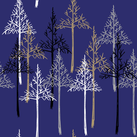 larch: Christmas pattern. Simple seamless Happy New Year background. Vector design for winter holidays on dark blue background. Illustration