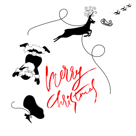harness: Santa Claus fall from sleigh with harness on the reindeer. Vector illustration.