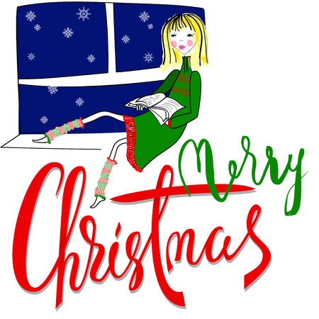 windowsill: Girl sitting on the window-sil and read book. Merry Christmas lettering.