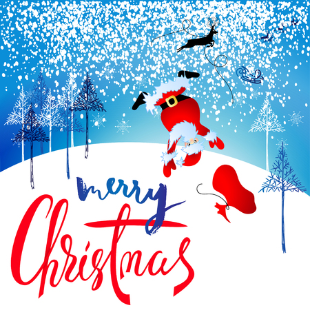 Santa Claus fall from sleigh with harness on the reindeer. Vector illustration.