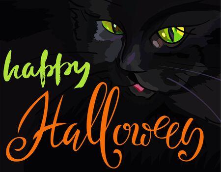 helloween: Halloween illustration with black cat. Helloween handwritten lettering. Vector illustration. Stock Photo
