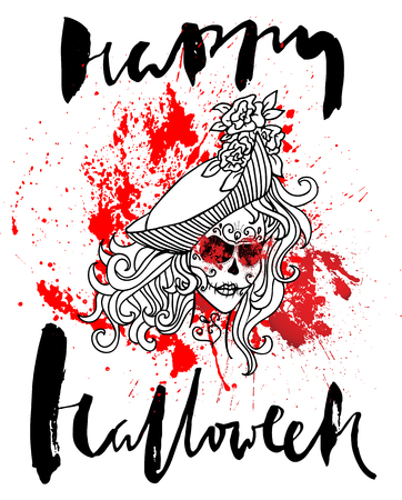 sewn: Handdrawn lettering on watercolor blood drops background. Vector skull girl with sewn lips. Day of The Dead. Happy halloween.