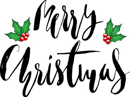 Greeting card with a Christmas holly berries and Merry Christmas message. Christmas lettering.