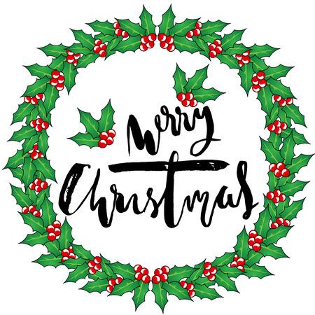 coronas de navidad: Tarjeta de felicitación con unas guirnaldas de Navidad y Feliz Navidad del mensaje. letras de Navidad. Vectores