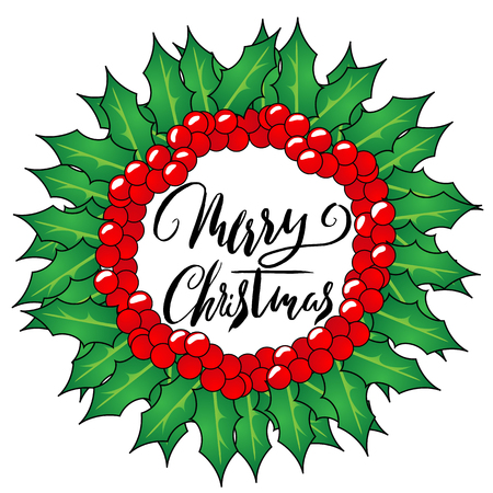 Greeting card with a Christmas wreaths and Merry Christmas message. Christmas lettering. Illustration