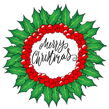 christmas wreaths: Greeting card with a Christmas wreaths and Merry Christmas message. Christmas lettering. Illustration
