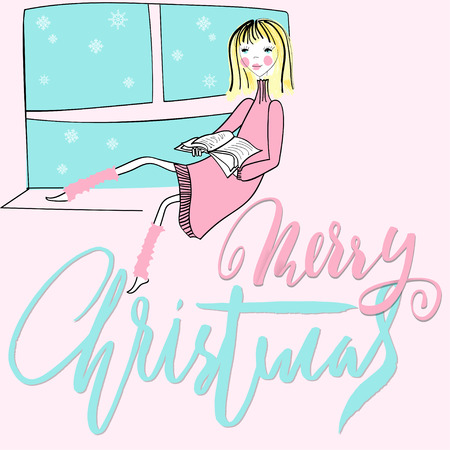 Girl sitting on the window-sil and read book. Merry Christmas lettering.