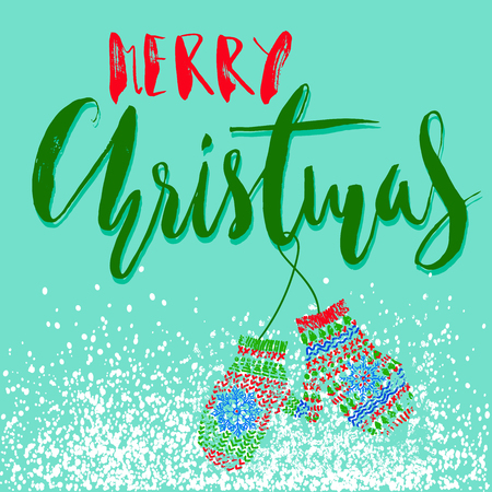 Merry Christmas. Modern calligraphy for Christmas cards and posters. Vector lettering with cute mitten pair.