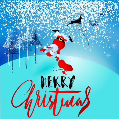 Santa Claus fall from sleigh with harness on the reindeer. Vector illustration. Chtistmas handwritten lettering.