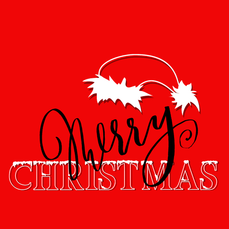 White and black hand drawn grunge lettering and christmas style font on red background. Silhouette of Santa Claus hat.